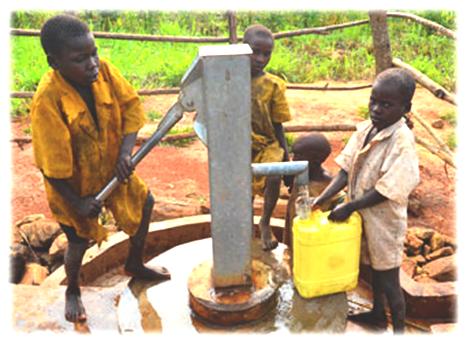 boys retrieving fresh water from deep water well in Rotifunk, Sierra Leone